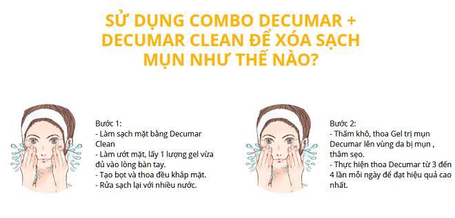 cách sử dụng gel trị mụn decumar và decumar clean