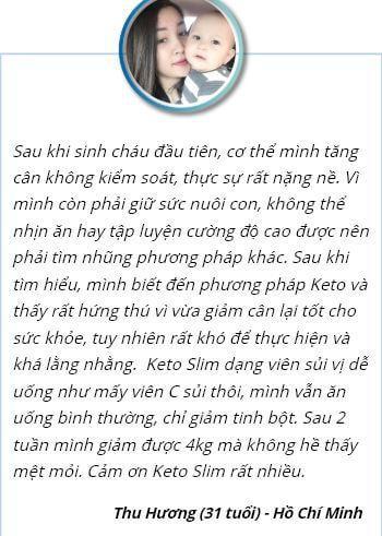 Phàn hồi của chị Hương sau khi dùng viên sủi Keto Slim
