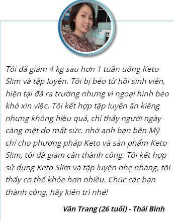 Phản hồi của chị Trang về viên sủi Keto SLim